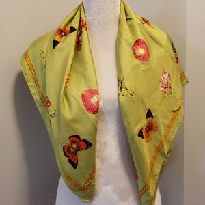 ECHO Silk Scarf Butterflies, Flowers & Berries Grn